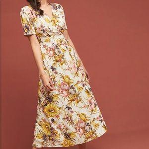 Anthropologie Sunflower Wrap Dress, Small, NWT